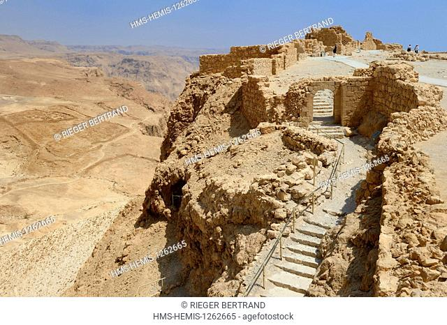 Israel, Negev Desert, Masada fortress, listed as World Heritage by UNESCO, the byzantine western gate