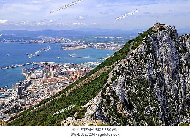 Rock of Gibraltar, spanish mainland in background, Gibraltar