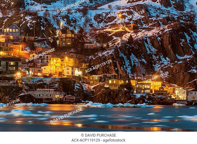 View of the fishing Village the Battery, St John's, Newfoundland and Labrador, Pack ice drifting in the harbour narrows