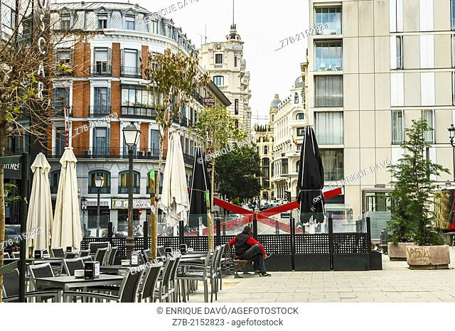 View of a central square closed to Gran Via, Madrid city, Spain