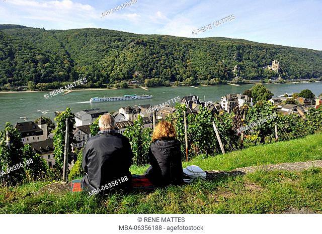 Germany, Rhineland-Palatinate, Assmannshausen-Rudesheim with the castle of Rheinstein in the background, the romantic Rhine listed as World Heritage by UNESCO