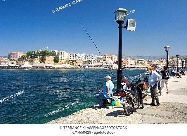 The Venetian waterfront  of Hania on the Greek island of Crete