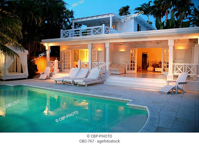 Back Yard of House with Pool at Dawn, Miami, Florida, USA
