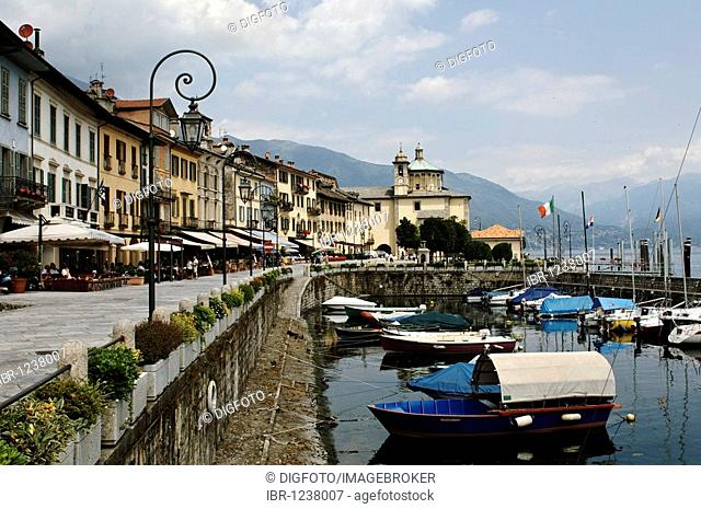 Waterfront front in Cannobio on the Lago Maggiore lake, Piedmont, Italy, Europe
