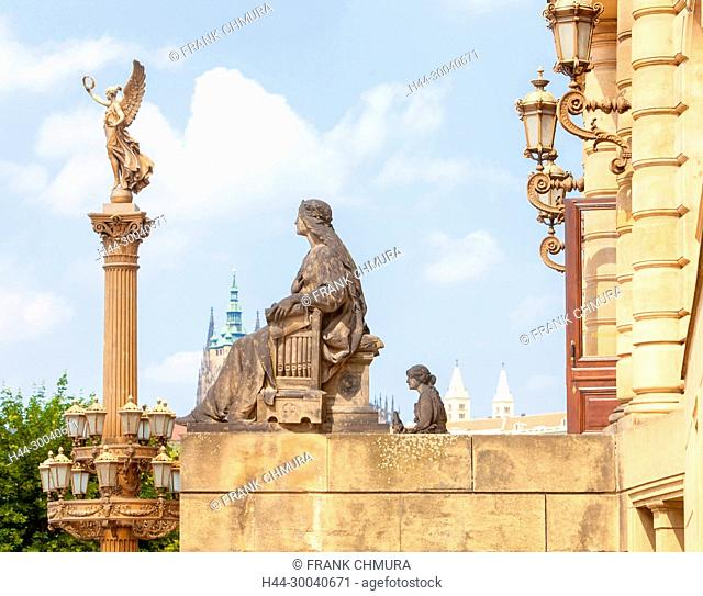 Prague, Old Town - Golden Muse Column Rudolfinum Concert Hall