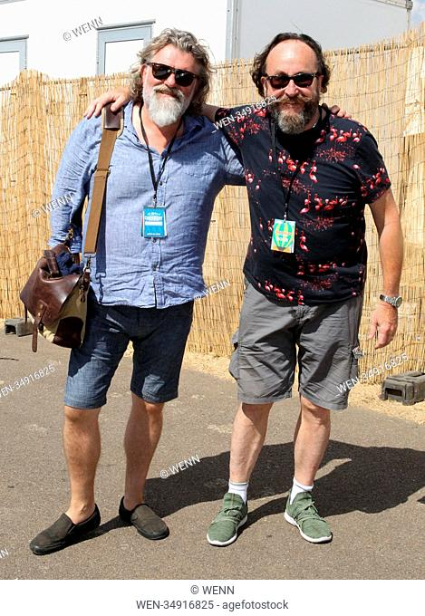 David Myers and Simon 'Si' King pose for pictures at Cornbury Festival 2018 Featuring: David Myers, Simon 'Si' King, The Hairy Bikers Where: Chipping Norton