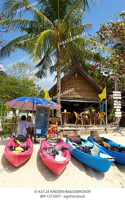 Kayaks in front of a beach bar on the Ray Leh West Beach, Krabi, Thailand, Asia