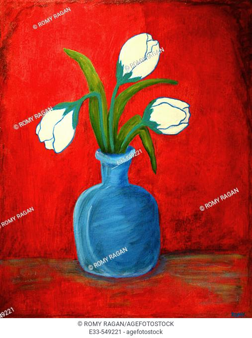 'Blue Vase' 16 x 20' Acrylic on canvas. 2002. Artist's collection