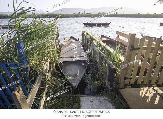 Fishing Boats in Estany lagoon. Cullera, Valencia, Spain