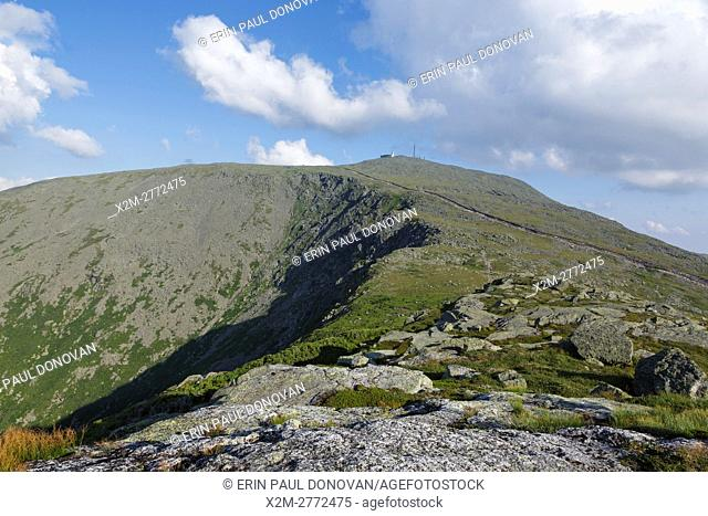 Mount Washington from Mount Clay in Thompson and Meserve's Purchase, New Hampshire. The Appalachian Trail crosses over the summit of Mount Washington
