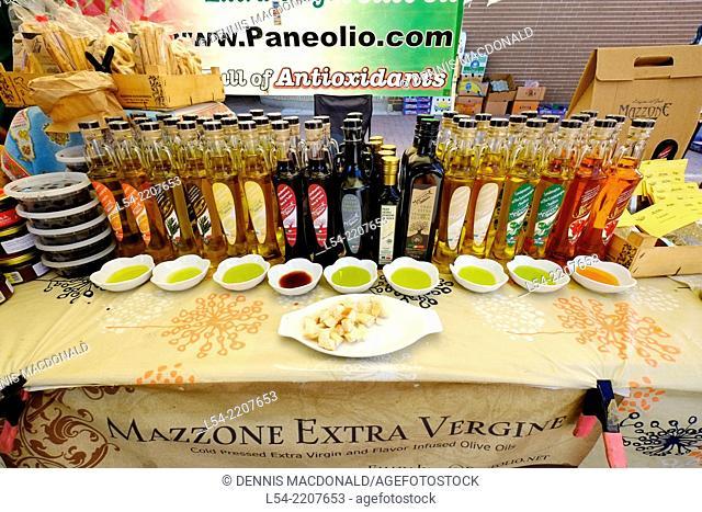 Extra Virgin Olive Oil Display Bradenton Florida Farmer's Market FL