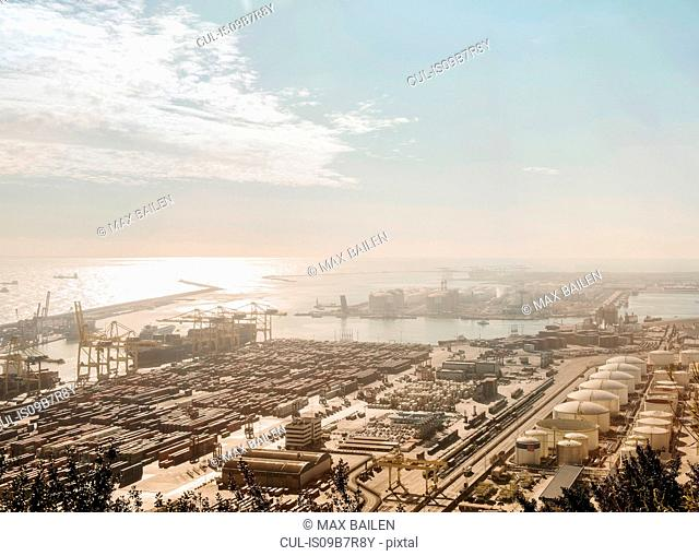 Elevated view of port ships and cranes, Barcelona, Spain