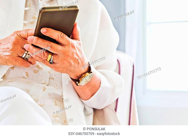 Senior woman and technology