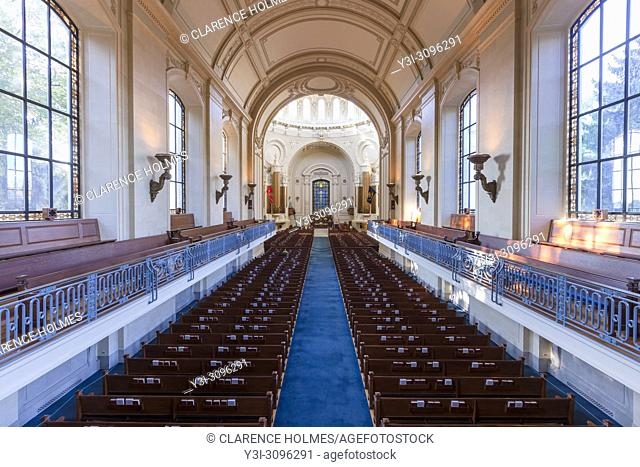 The interior of the Naval Academy Chapel at the US Naval Academy in Annapolis, Maryland