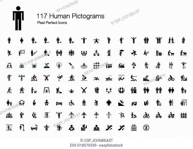 117 Human Pictograms Icons
