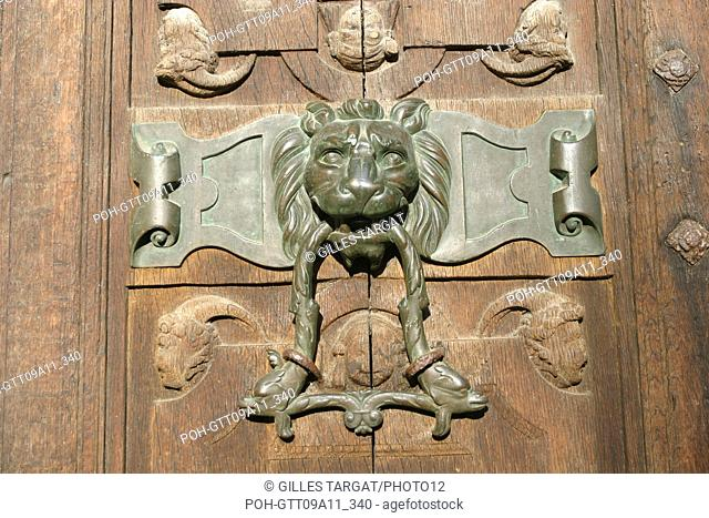 tourism, France, upper normandy, seine maritime, rouen, saint maclou church, main gate, door knocker, lion, bronze Photo Gilles Targat