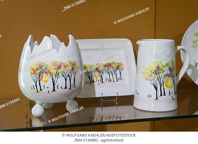Handmade faience earthenware is being displayed at the Atelier Soleil, which is among the oldest and most authentic ceramic workshops in Provence