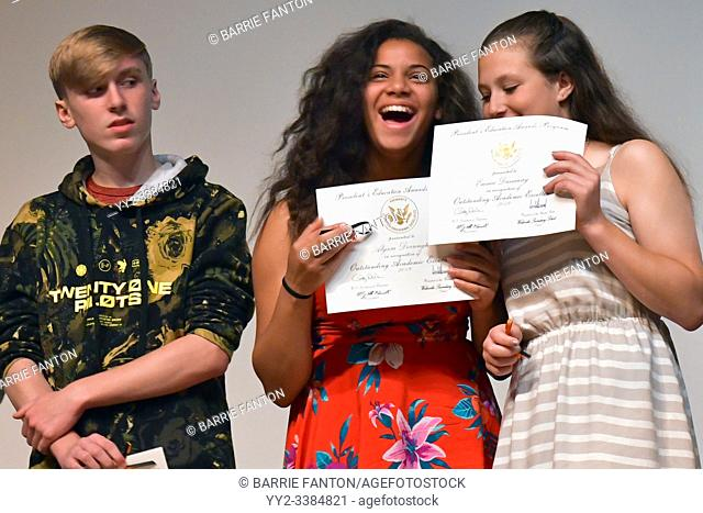 Middle School Students Receiving Excellence in Academics Awards, Wellsville, New York, USA