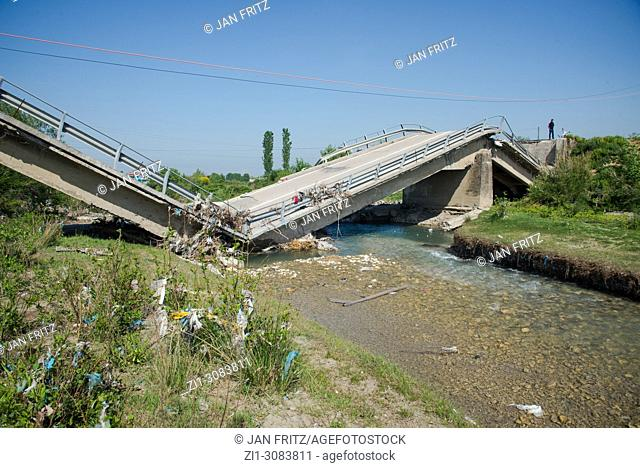 broken concrete bridge in Albania
