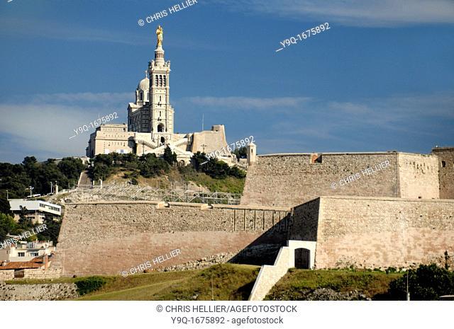 Notre Dame de la Garde Basilica and Fort Saint Nicolas Marseilles or Marseille Bouches-du-Rhône Provence France