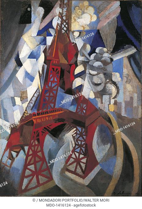 Red Eiffel Tower (La tour rouge), by Robert Delaunay, 1911-1912, 20th Century, oil on canvas, 125 x 90 cm. USA, New York, Solomon R. Guggenheim Museum