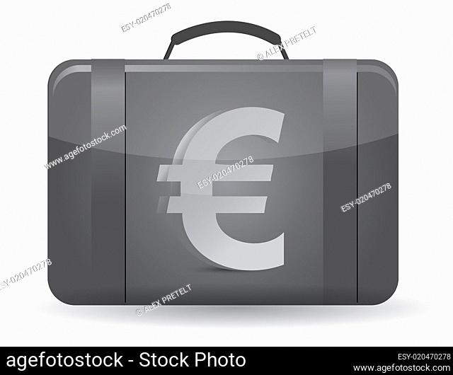 Suitcase with euro sign in front