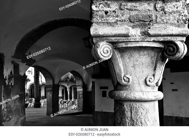 Plaza Chica column, Small square of Zafra, Badajoz, Spain