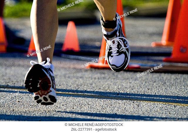man running at triathlon in Ft Desoto Florida