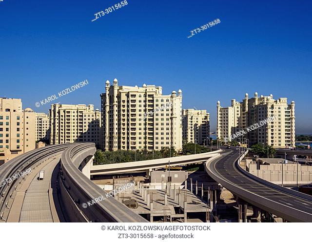 Monorail to Atlantis The Palm Luxury Hotel, Palm Jumeirah artificial island, Dubai, United Arab Emirates