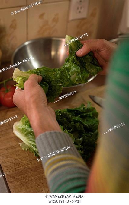 Man holding leafy vegetables in kitchen