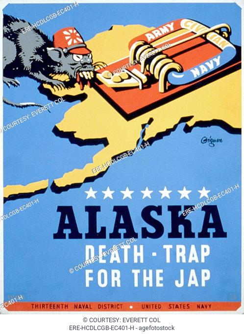 World War II, Poster for Thirteenth Naval District, United States Navy, showing a rat representing Japan, approaching a mousetrap labeled 'Army Navy Civilian