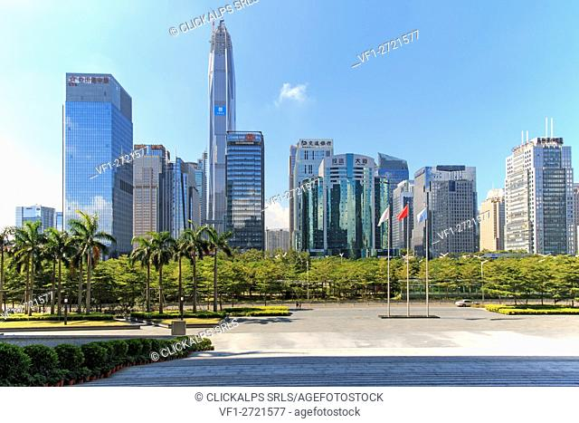 Shenzhen skyline as seen from the Stock Exchange building with the KK100, the second tallest building of the city, on background, China