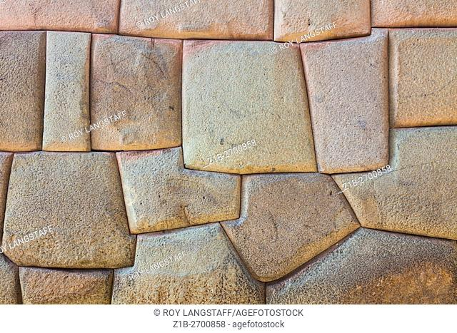 Abstract image of an Incan dry-stacked wall in Cusco, Peru