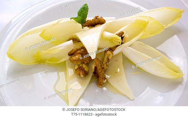 Endive, walnuts,chesse, mint and olive oil