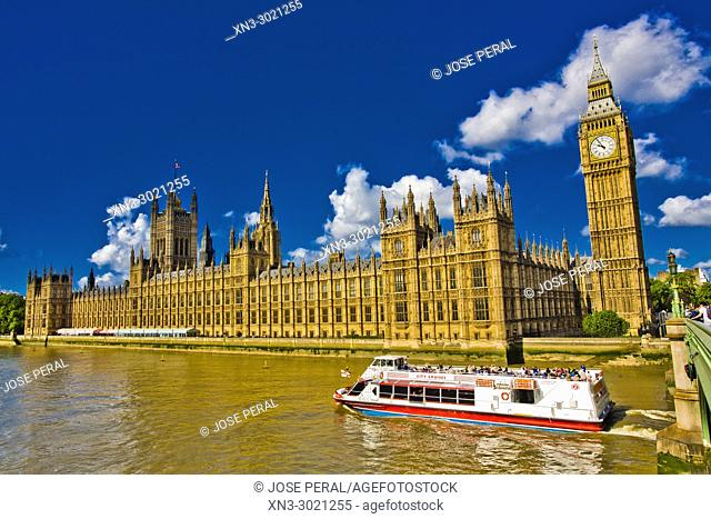 Cruise ship, tourist boat, Elizabeth Tower, Big Ben, Clock tower, Houses of Parliament, Palace of Westminster, Westminster Bridge, City of Westminster