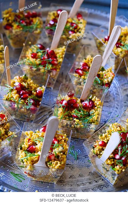 Party salads with pomegranate
