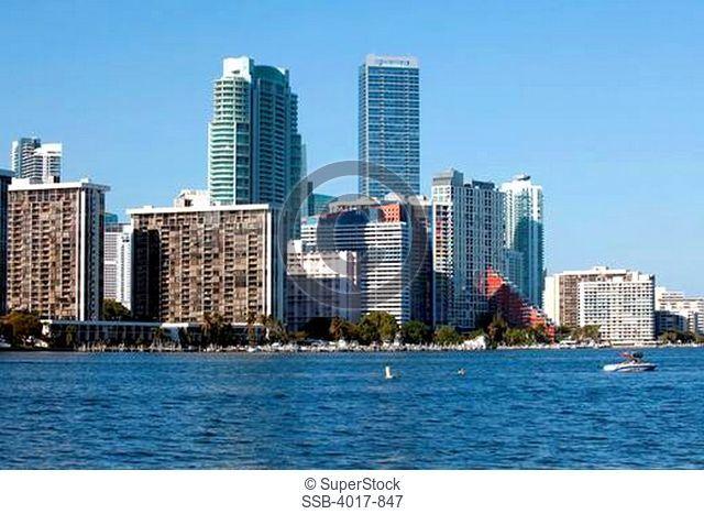 Miami Brickell skyline and Biscayne Bay from Rickenbacker Causeway