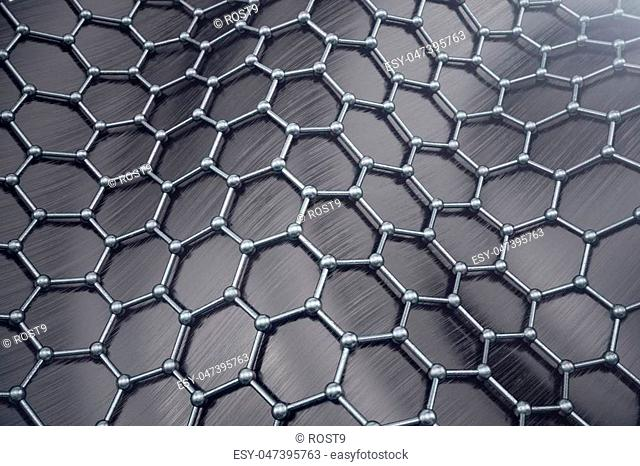 3D rendering abstract nanotechnology hexagonal geometric form close-up. Graphene atomic structure concept, carbon structure