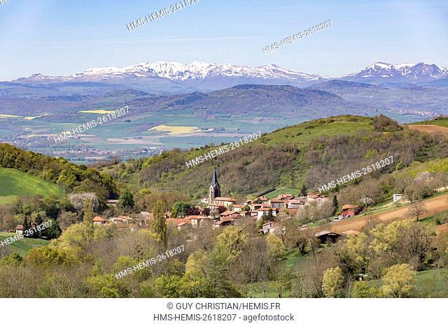 France, Puy de Dome, Laps village, Bas Livradois, in the background the Auvergne Volcanoes natural park