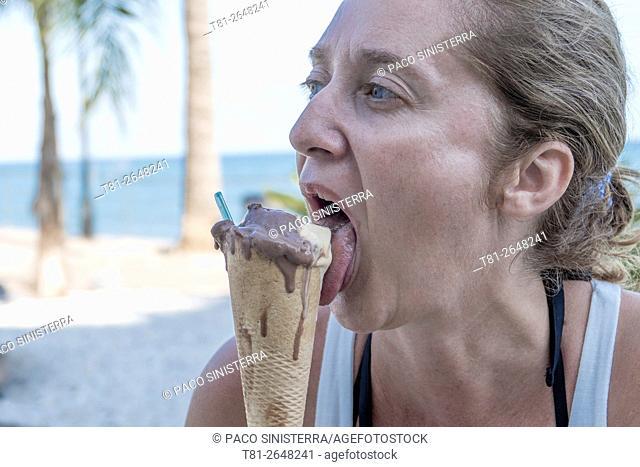woman eating ice cream, Italy
