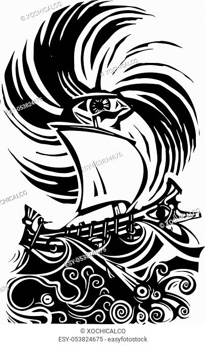 Woodcut style image of human eye in a storm with a greek ship