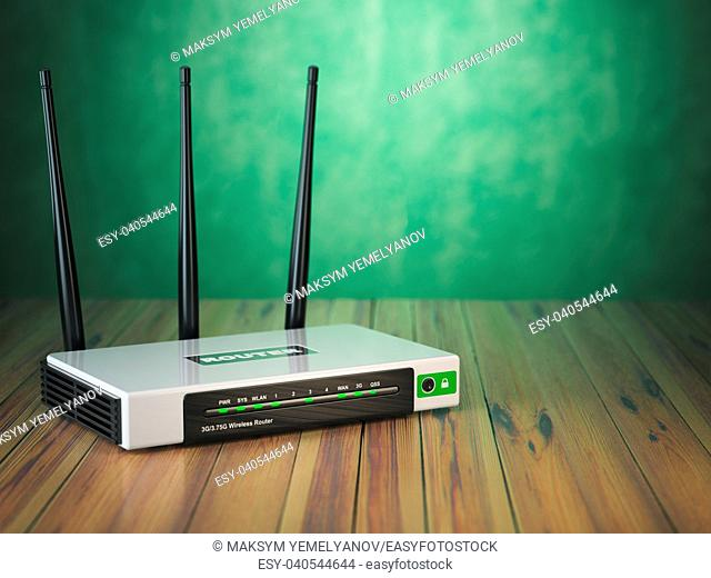 Wi-Fi wireless internet router on the wooden table and green background. 3d illustration