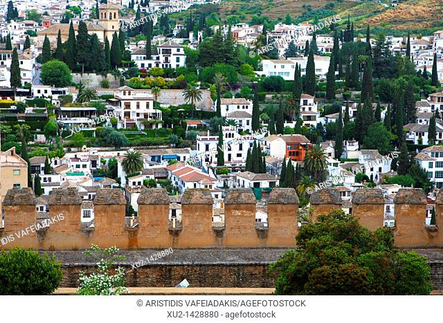 Albayzin as it looks from Alhambra in Granada Spain
