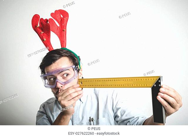 bricolage christmas stylish young man on white background