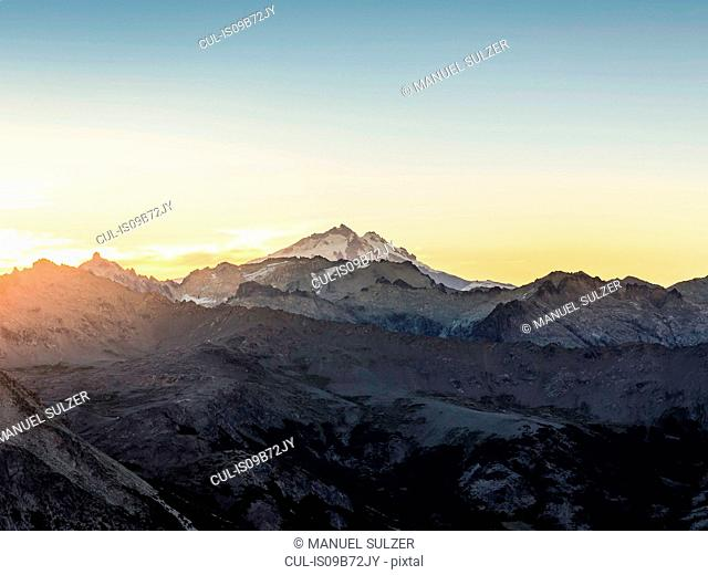 View of Mount Tronador in Andes mountain range at sunset, Nahuel Huapi National Park, Rio Negro, Argentina