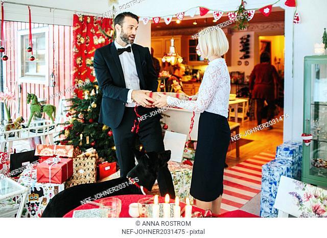 man and woman at Christmas