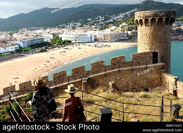 beach and old town of the village of Tossa de Mar, Girona province, Catalonia, Spain
