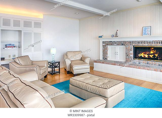 Sofas and fireplace in modern living room