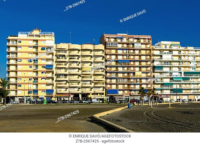A buildings view in Santa Pola beach, Alicante, Spain