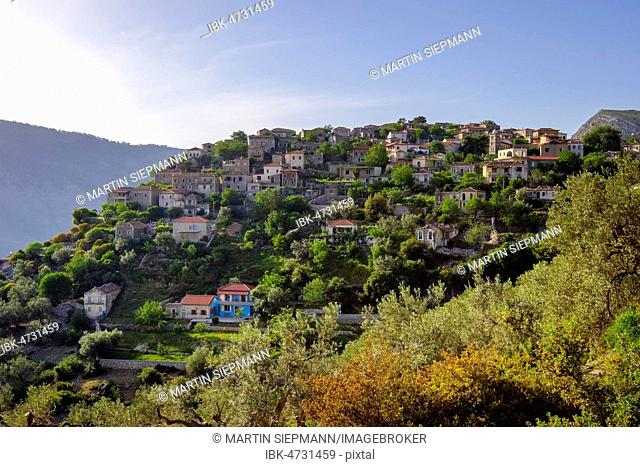 Mountain village Qeparo, near Himara, Albanian Riviera, Qark Vlora, Albania
